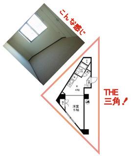 部屋が三角形の珍しい間取り